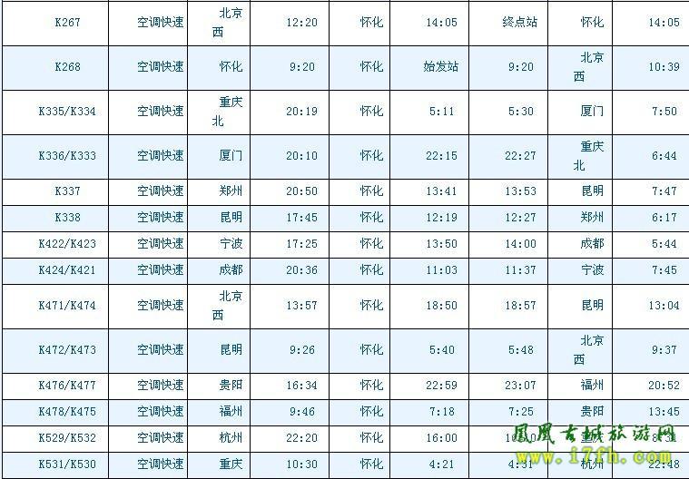 湖南怀化站最新火车时刻表